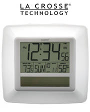 WT8112U Solar Digital Wall Clock with Indoor Temperature and Humidity